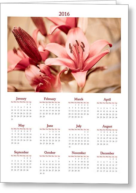 Macro Lilium Flowers Calendar 2016 Greeting Card by Arletta Cwalina