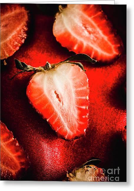 Macro Shot Of Ripe Strawberry Greeting Card