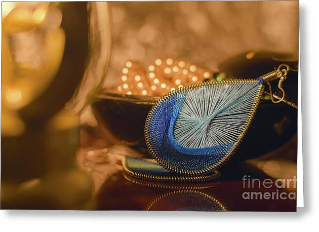 Macro Various Blue Earring Imitation Jewellery. Orange Light, Warm Toned. Blur Background. Lantern Greeting Card by Y K