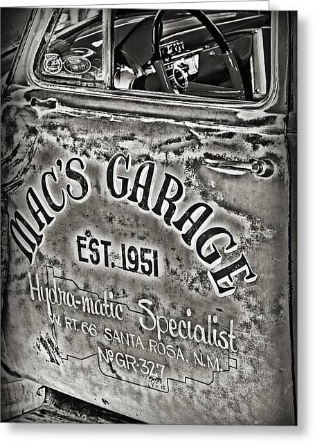 Macs Garage Greeting Card