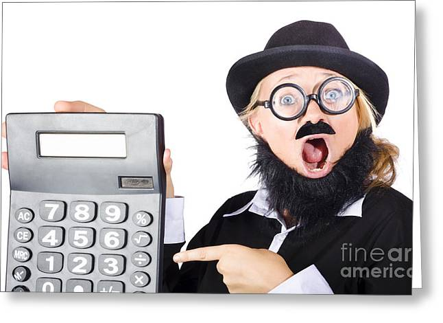 Mad Female Accountant With Calculator Greeting Card by Jorgo Photography - Wall Art Gallery