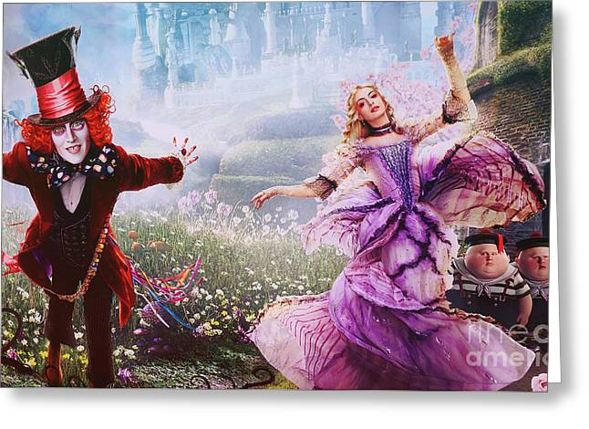 Mad Hatter And Alice Greeting Card by Nina Prommer
