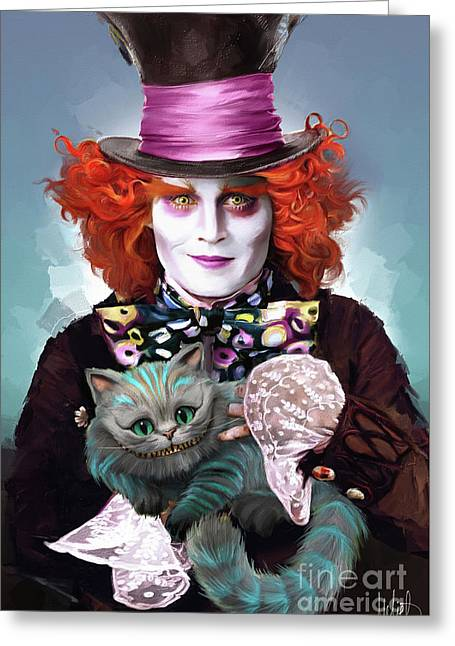 Mad Hatter And Cheshire Cat Greeting Card by Melanie D