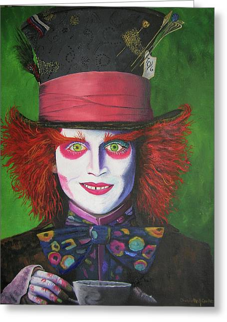 Mad Hatter Greeting Cards - Mad Hatter Johnny D Greeting Card by Charolette A Coulter