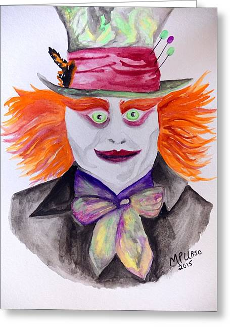 Mad Hatter Greeting Card by Maria Urso