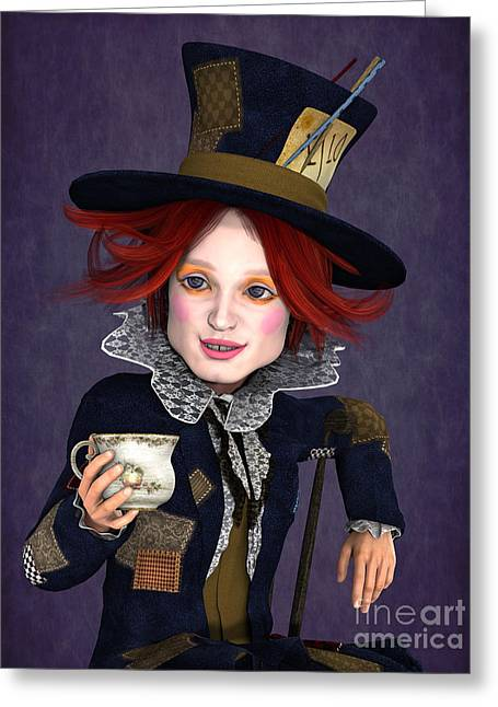 Mad Hatter Portrait Greeting Card by Methune Hively