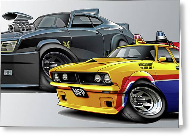 Green Hornets Greeting Cards - Mad Max Falcon and Interceptor Greeting Card by Maddmax