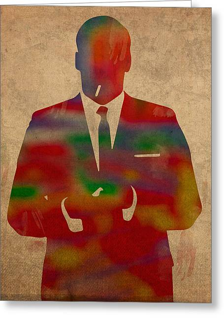 Mad Men Watercolor Silhouette Painting On Worn Parchment No 1 Greeting Card by Design Turnpike