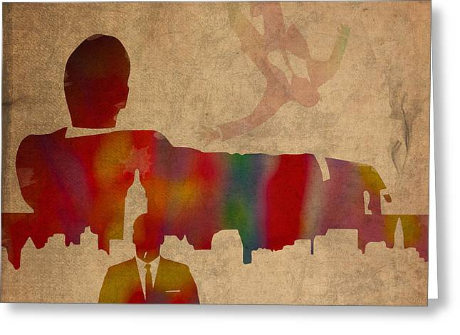 Mad Men Watercolor Silhouette Painting On Worn Parchment No 4 Greeting Card by Design Turnpike