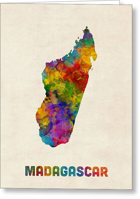 Madagascar Watercolor Map Greeting Card by Michael Tompsett