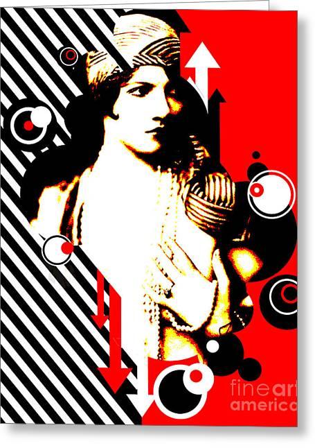 Madam Stripe Greeting Card by Chris Andruskiewicz