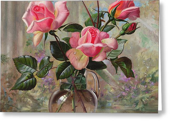 Madame Butterfly Roses In A Glass Vase Greeting Card
