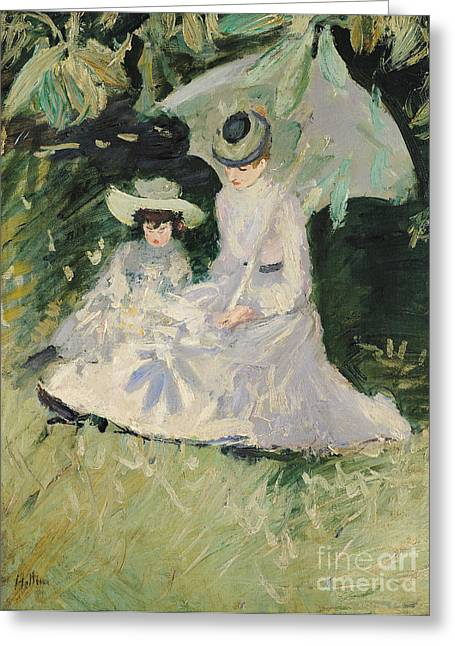 Madame Helleu And Her Daughter At The Chateau Of Boudran Greeting Card