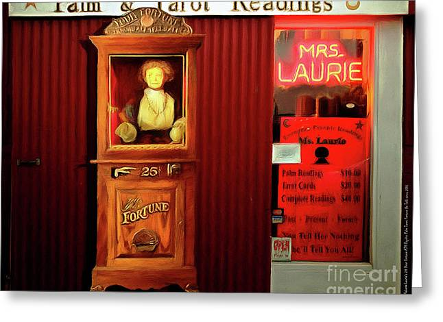 Madame Laurie's 24 Hour Fortune Atm Psychic Palm Tarot Fortune Be Told Circa 2016 20160626 Horizonta Greeting Card