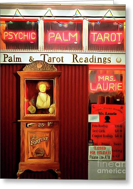 Madame Lauries Psychic Palm Tarot Fortune Be Told Closed For Holiday Please Use Atm Circa 2016 V2 Greeting Card