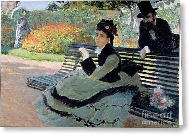 Madame Monet On A Garden Bench Greeting Card by Claude Monet