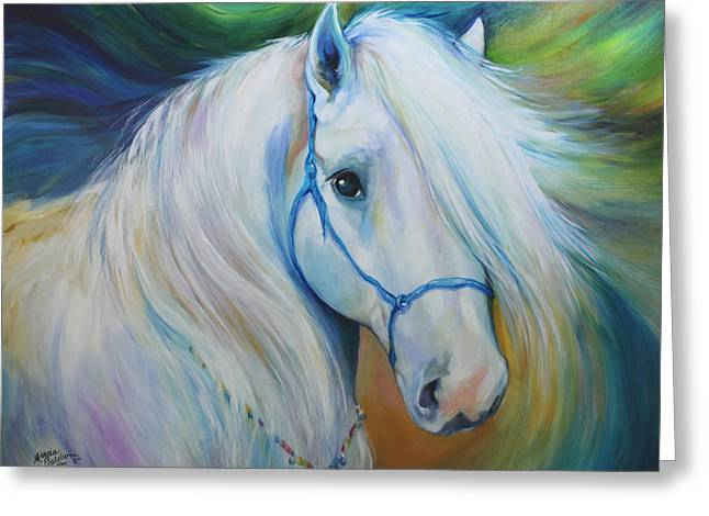 Beaded Jewelry Greeting Cards - MADDIE the ANGEL HORSE Greeting Card by Marcia Baldwin