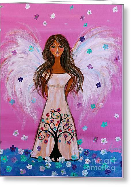 Greeting Card featuring the painting Pink Angel Of Life by Pristine Cartera Turkus