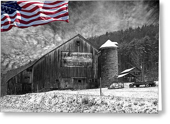 Red Roofed Barn Greeting Cards - Made In America Red White And Blue Greeting Card by John Stephens