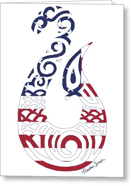Made In The Usa Tribal Fish Hook Greeting Card
