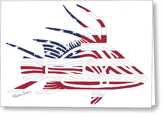 Made In The Usa Tribal Hogfish Greeting Card