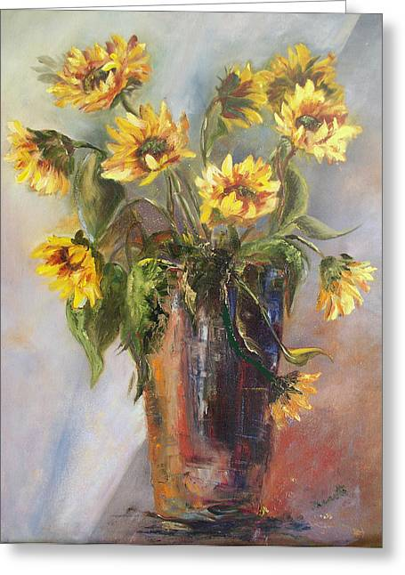 Madelaine's Sunflowers Greeting Card by Jeanette Fowler