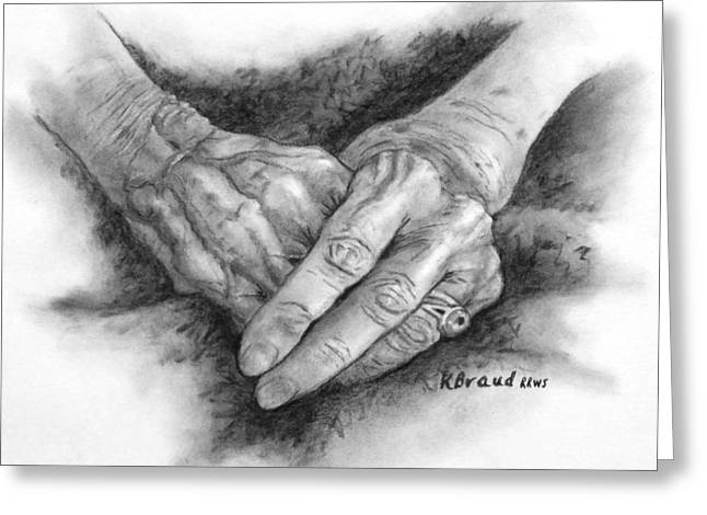 Madges Hands Greeting Card by Kathy Braud