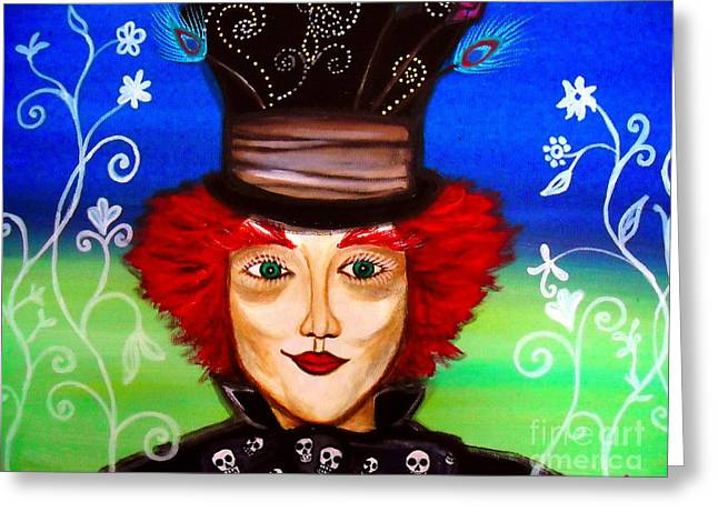 Greeting Card featuring the painting Madhatter by Pristine Cartera Turkus