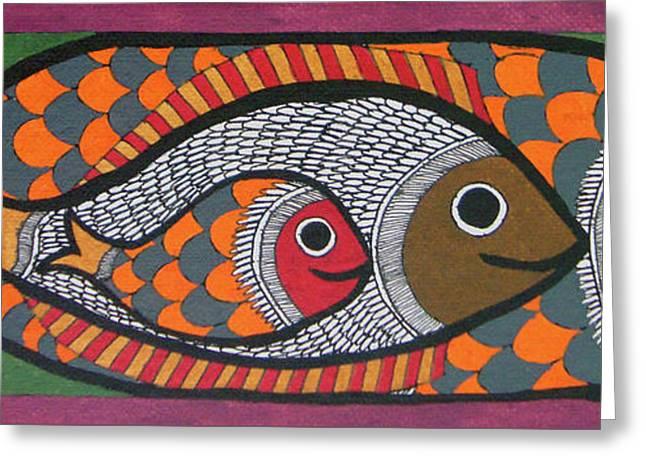 Madhubani Triple Fish Inside Fish Trible Painting Folk Artwork Miniature Artwork India.  Greeting Card