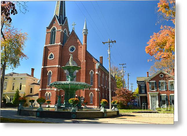Madison Church And Water Fountain Greeting Card by Amy Lucid