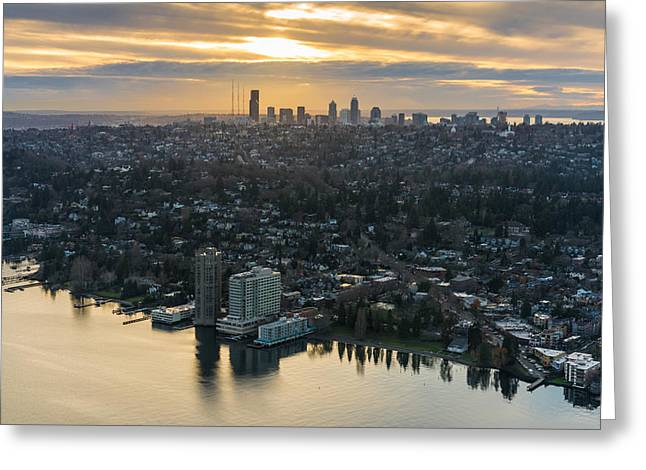 Madison Park And The Seattle Skyline Greeting Card by Mike Reid