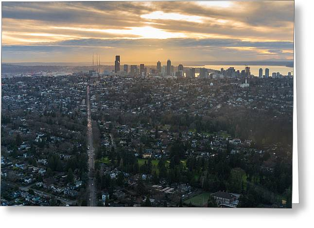 Madison Park Towards The Seattle Skyline Greeting Card by Mike Reid