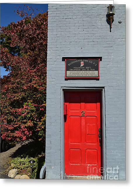 Madison Red Fire House Door Greeting Card