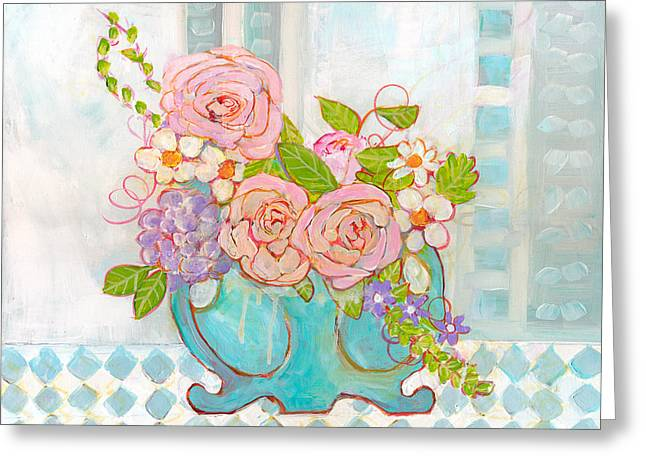 Madison Rose Flowers Greeting Card by Blenda Studio