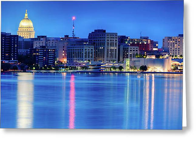 Madison Skyline Reflection Greeting Card
