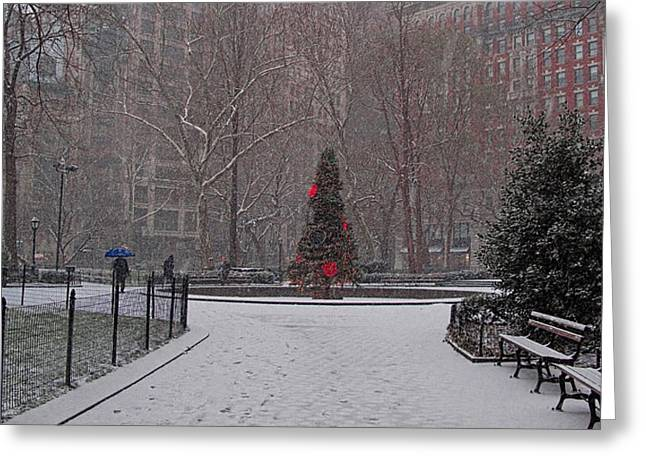 Madison Square Park In The Snow At Christmas Greeting Card by Chris Lord