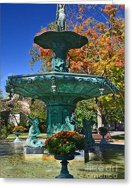 Madison Water Fountain In Fall Greeting Card by Amy Lucid