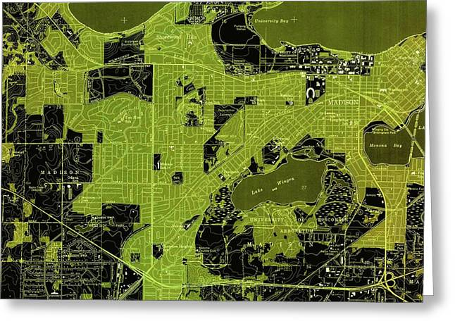 Madison West Green Old Map, Year 1959 Greeting Card by Pablo Franchi