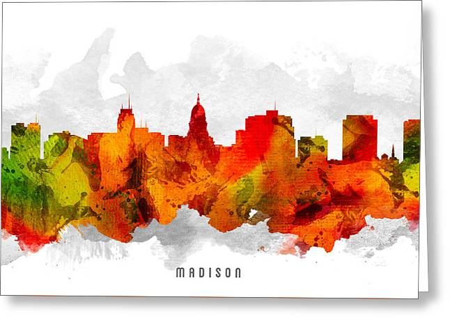 Madison Greeting Cards - Madison Wisconsin Cityscape 15 Greeting Card by Aged Pixel