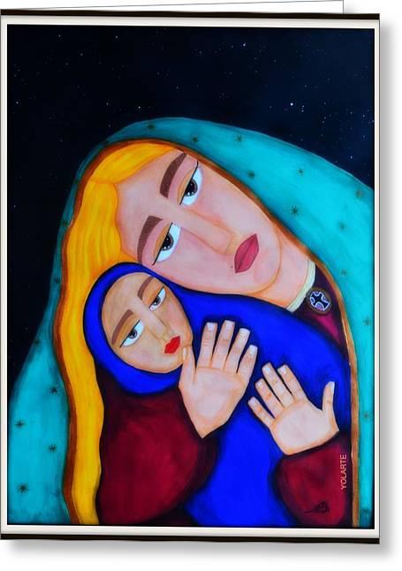 Madona With A Child Greeting Card by YOLARTE Yolanda Ortiz