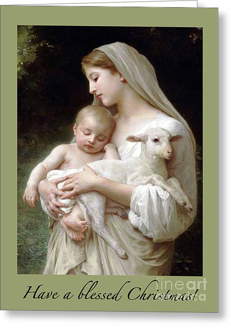 Madonna And Baby Jesus With Lamb Greeting Card by Maureen Tillman