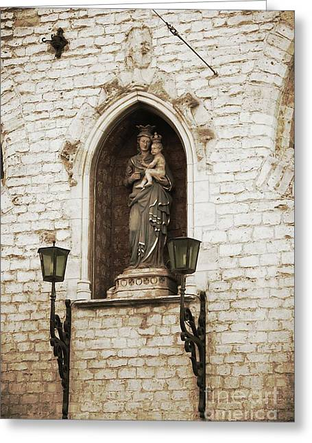 Madonna And Child Alcove Statue In  Belgium Greeting Card