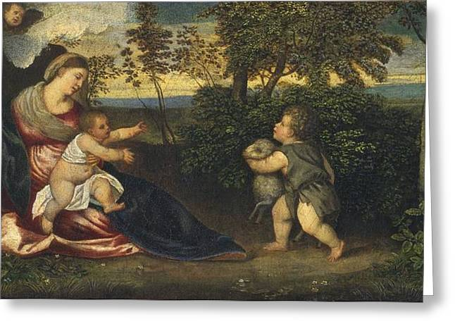 Madonna And Child And The Infant Saint John In A Landscape Greeting Card