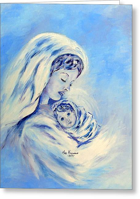 Madonna And Child By May Villeneuve Greeting Card
