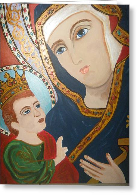 Madonna And Child Greeting Card by Demetria Kelley