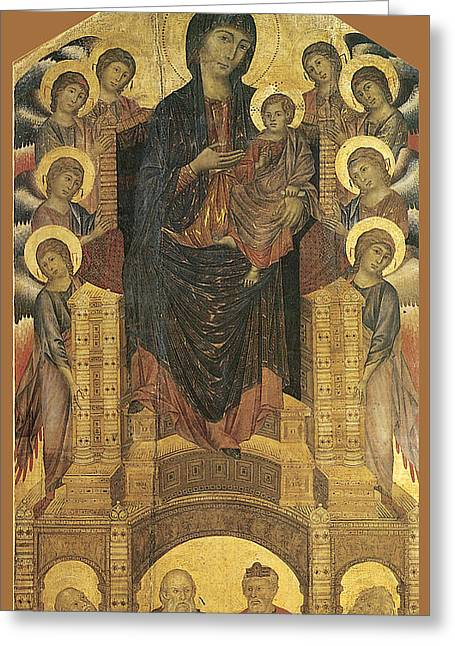 Madonna And Child Enthroned With Eight Angels Greeting Card by Cimabue