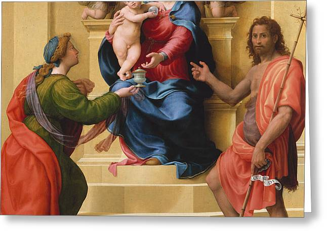 Madonna And Child Enthroned With Saints Mary Magdalene And John The Baptist Greeting Card by Giuliano Bugiardini