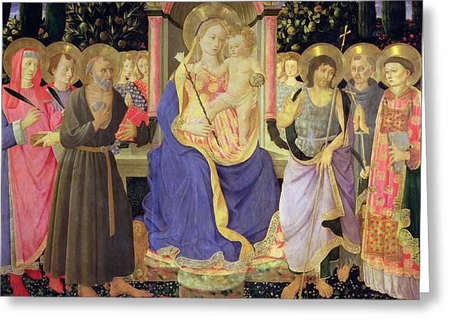 Madonna And Child Enthroned With Saints  Greeting Card