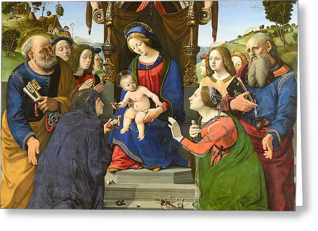 Madonna And Child Enthroned With Saints Greeting Card by Piero di Cosimo