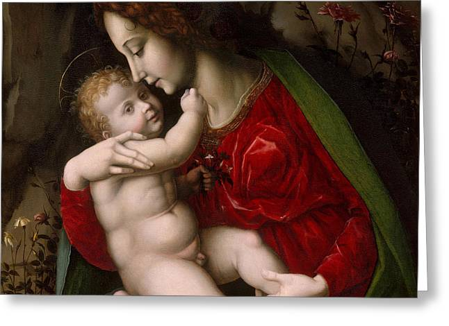 Madonna And Child Greeting Card by Francesco Ubertini Verdi Bachiacca
